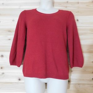 NWT Talbots warm red sweater 3/4 sleeves L